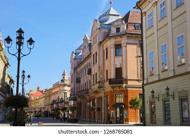 KAPOSVAR, HUNGARY - NOVEMBER, 1, 2017: City landscape with old small cozy buildings in the center of Kaposvar, Hungary