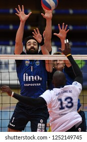 KAPOSVAR, HUNGARY – NOVEMBER 29, 2018: Jozsef Nagy (blue 1) in action at a Hungarian National Cup volleyball game between Kaposvar (blue) and MAV Elore (white) in Sportcsarnok Kaposvar.