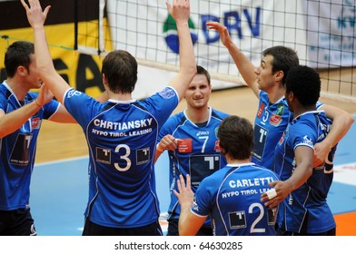 KAPOSVAR, HUNGARY - NOVEMBER 5: Innsbruck players celebrate at a Middle European League volleyball game Kaposvar (HUN) vs Innsbruck (AUT), November 5, 2010 in Kaposvar, Hungary