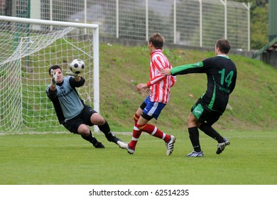 KAPOSVAR, HUNGARY - OCTOBER 3: Gabor Vukmann (goalkeeper) in action at a Hungarian National Championship III. soccer game Kaposvar II. vs. Mohacs October 3, 2010 in Kaposvar, Hungary.