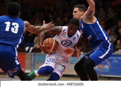KAPOSVAR, HUNGARY - OCTOBER 6: Jaytornah Wisseh (white 33) in action at Hungarian Championship basketball game with Kaposvar (white) vs. Sopron (blue) on October 6, 2016 in Kaposvar, Hungary.