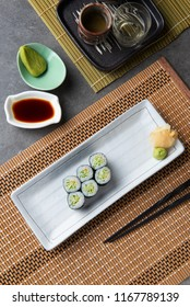 Kappa maki japanese cucumber roll sushi with background