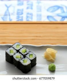 Kappamaki with ginger and wasabi