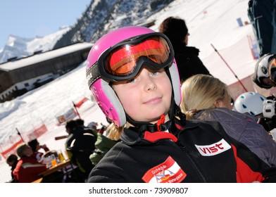KAPRUN AUSTRIA - MARCH 5: Maiskogel Fanlauf 2011. Unidentified girl after race at charity ski race with many celebrities in austria on March 5, 2011 at the Maiskogel in Kaprun, Austria