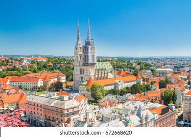 Kaptol and catholic cathedral in the center of Zagreb, Croatia, vertical view