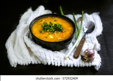 Kapustnyak - ukrainian cabbage soup with millet and meat. Rustic style. Selective focus