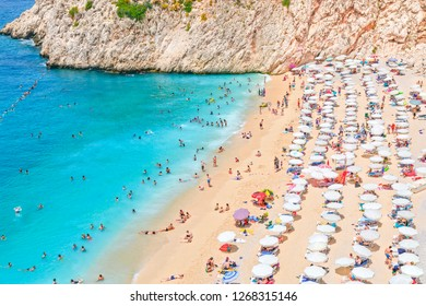 Kaputas beach, it is 20 km from Kas. The small beach is located between the popular holiday resorts of Kas and Kalkan in the southwest of the Turkish Riviera. August 2018 Antalya-Turkey