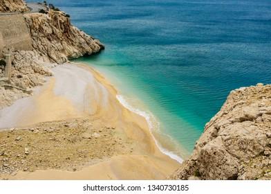 Kaputas Beach, Kas, Kalkan, Antalya, Turkey. Lycian way. Summer and holiday concept.