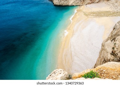 Kaputas Beach, Lycia coast and Mediterranean Sea in Kas, Kalkan, Antalya,Turkey. Lycian way. Summer and holiday concept