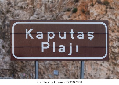 Kaputas Beach Sign on the way to Kas, Antalya
