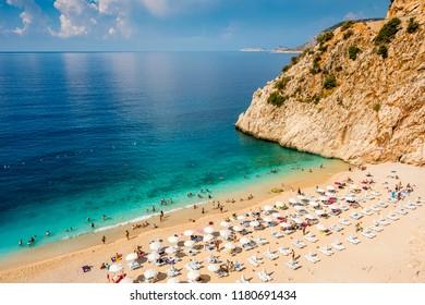 Kaputas Beach view from top. Kaputas beach is on the Turkish Mediterranean coast, and an important tourist destination.