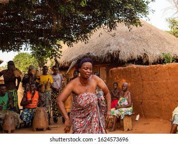 Kara,  Togo - 29/12/2019. Togolese people in a traditional clothes dance the religious voodoo dance. Voodoo is the West African religion