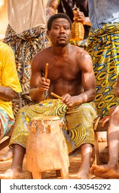 KARA, TOGO - MAR 11, 2012:  Unidentified Togolese musicians play the drums for the  religious voodoo dance. Voodoo is the West African religion