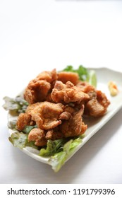 Karaage , Fried Chicken Japanese style on wood background