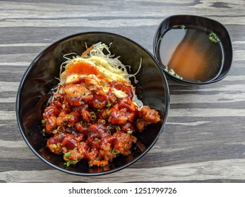 Karaage - Fried chicken Japanese style. Serve with vegetables, rice, and miso soup.
