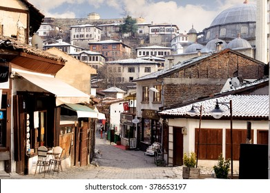 KARABUK, TURKEY - JAN 21, 2016: Market section of Safranbolu. The old town preserves many old buildings, with 1008 registered historical artifacts.Safranbolu was added to the list of UNESCO.