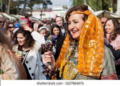 Karaburun, İzmir,Turkey - January 26, 2020 : Beautiful portrait from festival, Karaburun, İzmir. Narcissus festival organized for introducing the daffodil flower, which became the symbol of Karaburun.