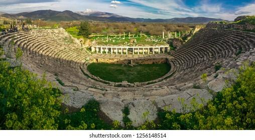 Karacasu, Aydın/Turkey - March 16, 2018: Panoramic Theather view of Aphrodisias (Afrodisias) Ancient City. Aphrodisias was named after Aphrodite, the Greek goddess of love.