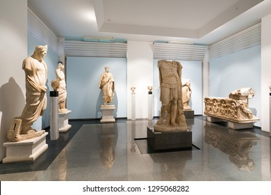 Karacasu - Aydın / TURKEY 03 January 2019: Afrodisias Ancient city  (Aphrodisias), Statues inside the Rome period ancient museum