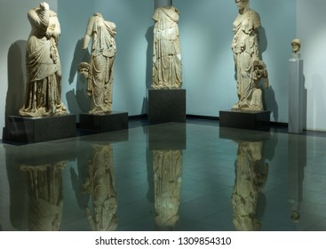 Karacasu - Aydın / TURKEY 03 January 2019: Afrodisias Ancient city (Aphrodisias), Statues inside the Hellenistic, Roman and Byzantine period ancient museum. UNESCO on the World Heritage List