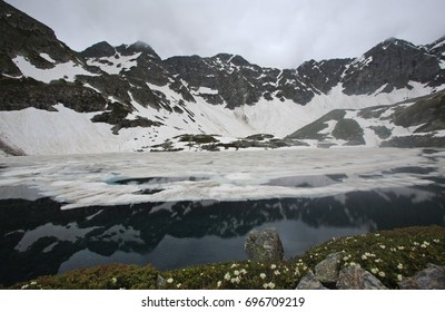 Karachay-Cherkess Republic. Arkhyz. Trekking to Dukkin lakes. Reflection.