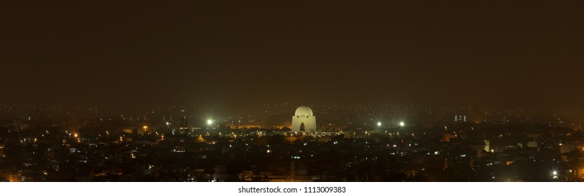 Karachi City view at night, Quaid-e-azam's tomb is also seen in this picture.