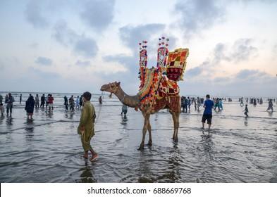 Karachi Clifton Beach, Karachi, Sindh, Pakistan, 17th May 2016