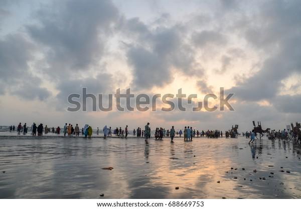 Karachi Clifton Beach Karachi Sindh Pakistan Stock Photo