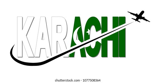Karachi flag text with plane silhouette and swoosh illustration