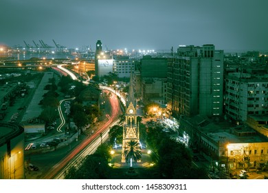Karachi, Karachi/Pakistan - Jul 22, 2019 : Merewether clock tower karachi at night with traffic trail lights.