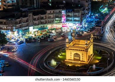 Karachi, Karachi/Pakistan - July 24, 2015: Aerial View Charminar roundabout in night, Karachi Pakistan