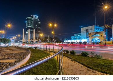 Karachi, Karachi/Pakistan - Oct 26, 2018: Traffic Trail lights in Karachi, Pakistan.