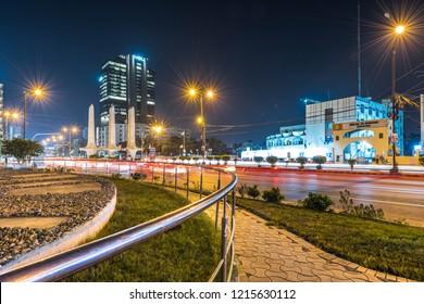 Karachi, Karachi/Pakistan - Oct 26, 2018: Traffic Trail lights in Karachi, Pakistan.