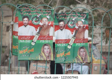 Karachi, Pakistan; 08/2018: Imran Khan's poster in Karachi, after the elections