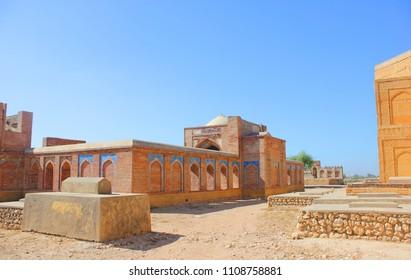 Karachi, Pakistan, 24 DEC 2017 Monuments of Makli Graveyard , patterns and caligraphy ancient building  Thatta , Interior Sindh , Pakistan World's largest necropolis in Thatta. Sindh
