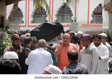 KARACHI, PAKISTAN - APR 10: People attend funeral prayer of local businessman who was killed mercilessly at his business premises in Jodia Bazaar by unknown individuals, on April 10, 2019 in Karachi.