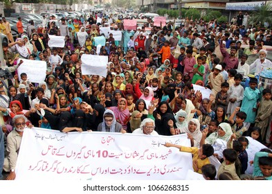 KARACHI, PAKISTAN - APR 10: Residents of Rehri Goth are holding protest demonstration against killing of fishermen and high handedness of influent people, on April 10, 2018 in Karachi.