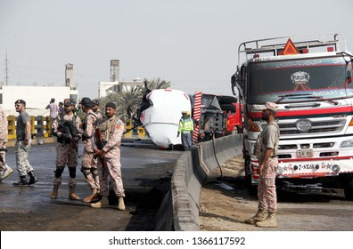KARACHI, PAKISTAN - APR 10: View of venue after traffic accident of oil tanker and huge fire broken incident at Gulbai Flyover located on the Sher Shah area on April 10, 2019 in Karachi.