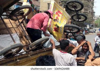 KARACHI, PAKISTAN - APR 15: Anti encroachment operation in progress demolishing illegal encroachment during anti encroachment drive on April 15, 2018 in Karachi.