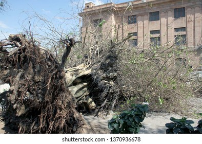 KARACHI, PAKISTAN - APR 15: View of destruction after heavy and strong winds  dust-storm on April 15, 2019 in Karachi. At least two people were killed as strong  winds continued to batter Karachi.