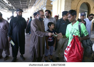 KARACHI, PAKISTAN - APR 28: Indian fishermen who arrested by PMS Agency are leaving Pakistan after release by authorities as gesture of goodwill, at Railway Station on April 28, 2019 in Karachi.