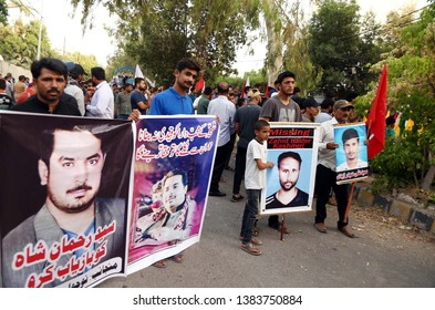 KARACHI, PAKISTAN - APR 28: Relatives of missing persons are holding protest  demonstration for recovery of love one, outside President, Arif Alvi Residency on April 28, 2019 in Karachi.