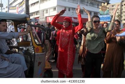 KARACHI, PAKISTAN - APR 29: Shemales are protesting for release their welfare fund which deprived by Government of Sindh as they claimed. outside Sindh Assembly on  April 29, 2016 in Karachi.