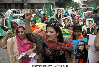 KARACHI, PAKISTAN - AUG 03: Activists of Muslim League-N are holding protest  demonstration against dismissal of Nawaz Sharif from designation of prime minister, on August 03, 2017 in Karachi.