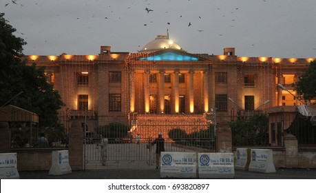 KARACHI, PAKISTAN - AUG 10: The illuminated view of Sindh High Court on the  occasion of 70th Independence Day of Pakistan coming ahead, on August 10, 2017 in Karachi.