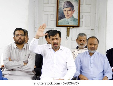 KARACHI, PAKISTAN - AUG 17: Chief of Pak Sarzameen Party Mustafa Kamal addresses to media persons during press conference held at party office on August 17, 2017 in Karachi.