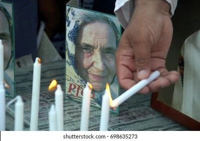 KARACHI, PAKISTAN - AUG 18: Candle light vigil is being holding by civil society in honor  of Dr. Ruth Pfau, at Manghorpir area on August 18, 2017 in Karachi.