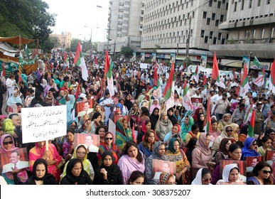 KARACHI, PAKISTAN - AUG 21: MQM activists gathered at press club to protest against attack on Rasheed Godil, ban on Altaf Hussain speech on August 21, 2015 in Karachi.