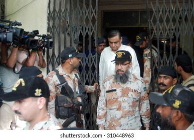 KARACHI, PAKISTAN - AUG 27: Former federal minister was presented in ATC-III by the Rangers on August 27, 2015 in Karachi. ATC-III placed Dr Asim under a 90-day remand to Rangers custody for inquiry.