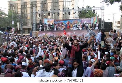 KARACHI, PAKISTAN - DEC 03: Sindhi people are enjoying and jubilant during Sindhi Cultural Day, at press club on December 03, 2017 in Karachi.